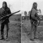 WWII British sniper wearing camouflaged Denison smock. faceveil on head and carrying No. 4 (T) sniper rifle with No. 32 scope. Smock was designed for airborne troops and has a crotch strap which keeps smock from riding up WBSTTR - Shore 1948 fp 103