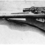 WWII British No. 4 (T) sniper rifle with No. 32 scope and special sniping butt. This is likely a Canadian Long Branch made rifle. WBSTTR - Shore 1948 fp 183