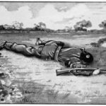 British sniper instructor showing how to crawl with the rifle.