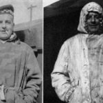German camouflage jacket worn normally, The camouflage is in a blotched pattern of brown and green. On the right is the same jacket worn reversed, for use in snow. WWII British snipers WBSTTR - Shore 1948 fp 294