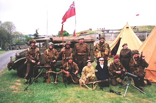 Re-enactors at Fort Rodd Hill near Esquimant-Victoria, British Columbia, Canada in 2002. I am at the far right, kneeling.
