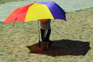 Fort Nisqually Brigade Days 2016 AUG (15) - An umbrella with legs.