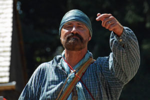 """Fort Nisqually Brigade Days 2016 AUG (62) """"Ah, you dere, you look like you could paddle a canoe all day! How about joining us?"""""""