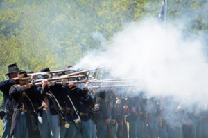 # 530 - Union volley. Soliders fire their rifles together at the same time.