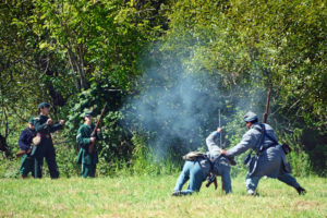 # 575 - Rebels scramble to get away from Union skirmishers.