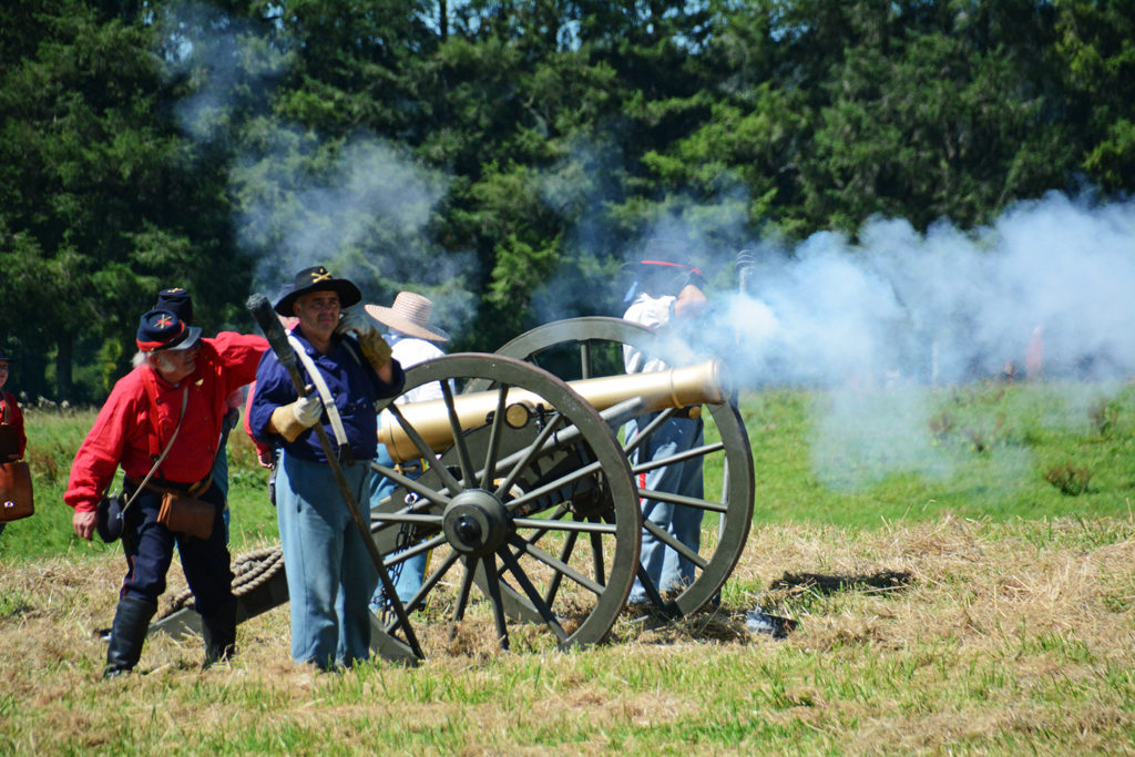 "# 764 - Brass cannon firing. 1st Illinois Light Artillery Regiment Battery ""A"" Morgan's."