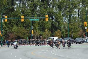 (9) The Seaforth Highlanders of Canada turning off of Cornwall Avenue onto Burrard Street.