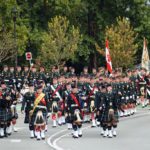 The Seaforth Highlanders of Canada coming off Cornwall onto Burrard Street after marching from Jericho.