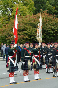 (36) Seaforth Colour Party out in friont of the Seaforth Armoury.