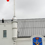 (47) (46) Raising the Canada Flag signifying reoccupation of the Seaforth Armoury.