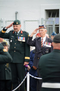 Taking the salute. Brigadier R. MacKenzie, OMM, CD and Lieutenant Colonel Dave Fairweather, CD. (Retired),