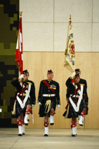 (145) Seaforth Colour Party marching into the parade.