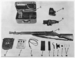 M1C sniper rifle with U.S. T1 Weapon Sight (from Canadian manual stating these would be mounted on FN C2A1)