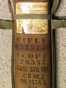 """British made 1944-1946 period canvas Scope """"Case Sighting Telescope No. 8 MK. 2. This shows the rifle number K33577 (painted over original number X35007) and scope number 28557. Optical Stores number """"OS 2578A"""" Made by """"F LTD. """""""