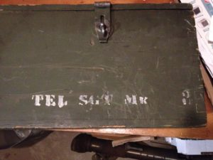 Small Arms Chest No. 15 MK. I for the No. 4 MK. I (T) sniper rifle. Right hand portion of markings on front. TEL SGT MK 3 for Telescope, Sighting Mark 3.