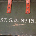 Small Arms Chest No. 15 MK. I for the No. 4 MK. I (T) sniper rifle. Centre portion of markings on front.