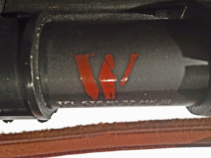 """Red """"W"""" """"Waterproof""""mark on a No, 32 MK. III scope. This mark is common on Mark 3 (Mk.III) scopes."""