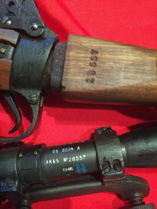 """No, 32 MK. III scope. Maker AK&S. Serial number 28557. Blue """"B"""" """"Bloomed"""" mark. The matching rifle shows the M47C 1944 rifle SN K33577. The butt has the scope serial number 28557 stamped on it. The rifle serial number, less the letter prefix, is stamped on the ledge which is hidden when the butt is in the rifle."""