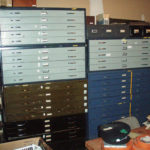 Map cabinets in museum and archives storage in the Fan Room in 2008.