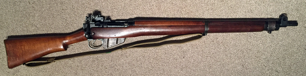 Lee-Enfield No. 4 MK. I/3 serial number 90C4966, made by Stevens-Savage in 1944 as a No. 4 MK. I* and then converted to No. 4 MK. 2 hung trigger configuration in 1951 at Fazakerley. US Property marking removed by British.