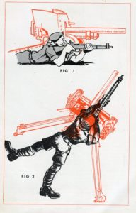 SHOOT TO LIVE Page 17 POSITION showing the stable position a rifle shooter should have, much like an anti-tank cannon.