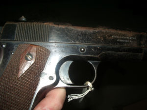 Colt 1911 Commercial pistol, one of 5,000 purchased by Canada in 1914, serial number C13085.