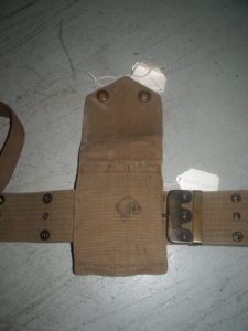 1914 MILLS webbing set for Colt 1911 Commercial pistol, one of 5,000 purchased by Canada in 1914, serial number C13085. Back view of the magazine pouch showing the Canadian issue mark C/|"|225|300|?|en|2|d251b151aa4e0c0c9ed3550aa94d0c02|False|UNLIKELY|0.34341537952423096