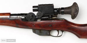 Ross sniper rifle with Warner & Swasey 1913 scope Royal Armouries Collection in UK. Left side. Scope SN 343
