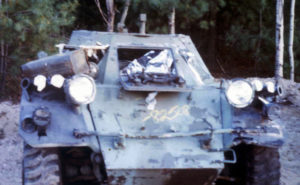 Hulk of Ferret Scout Car before being shot up as a target.