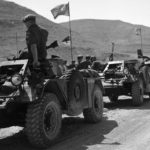 parked convoy of Canadian Ferret Scout Cars.