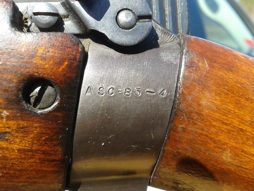 Scout Sniper's Rifle serial number ASC-85-4 as found - Serial number on the butt socket. (T.J. Pisani photo)