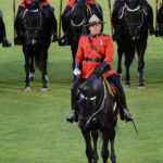 The Officer Commanding the Musical Ride gives a salute with his sword. (D7100a 250)