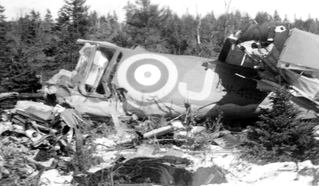Wreckage of a crashed airplane.