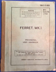 FERRET MK I USER HANDBOOK , Canadian printing. Cover.