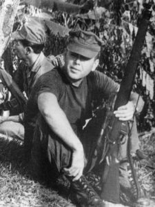 American officer with WWII British sniper rifle