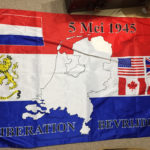 Dutch flag commemorating Liberation 1945. Obtained by me in Holland in 2005 from my Dutch host. Miniature flags of USA, UK, Canada and Poland