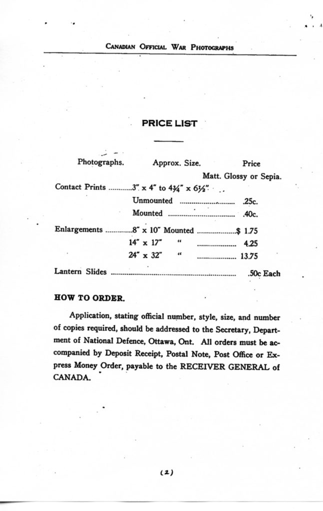 Canadian Official War Photographs of WWI INDEX - p. 002 The 1928 price list.