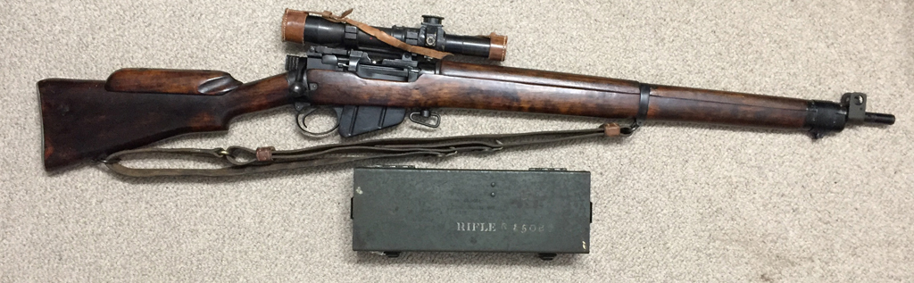 Lee-Enfield No. 4 MK. I ( T) sniper rifle made by Stevens-Savage 0C5130. This one was fully converted to sniper, was used, and went through Factory Thorough Repair (F.T.R.) in the UK after WWII. - Right side. Mismatched original No. 8 Mk. I scope case.