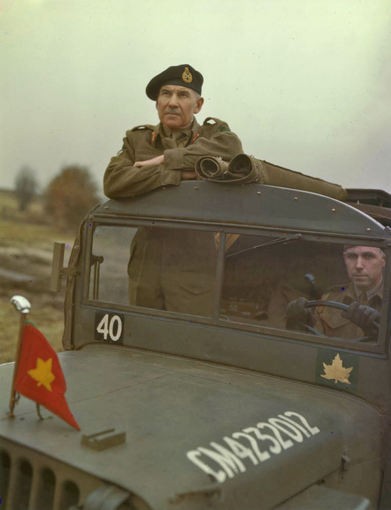 Major-General Worthington in the 4th Armoured Division GOC's jeep Late 1943 or January 1944 L&AC