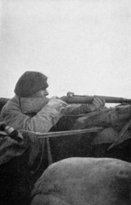 """The Sniper - At the Front"" - Canadian soldier using a Ross Mk. III rifle without scope. These rifles were extremely accurate. 1915"