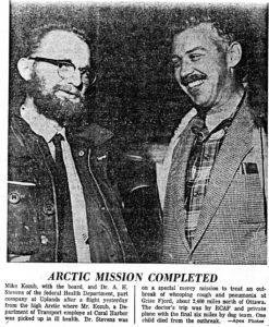 """Newspaper article about 1960-11-19 """"Doctor Checks Arctic Epidemic"""" Pilot Weldy Phipps and Dr. A. H. (""""Pete"""") STEVENS. - Part 1 - Photo"""