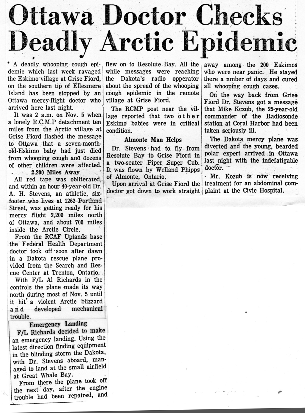 "Newspaper article about 1960-11-19 ""Doctor Checks Arctic Epidemic"" Pilot Weldy Phipps and Dr. A. H. (""Pete"") STEVENS. - Part 2 - Story"