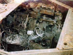 Ferret 54-82578 after destruction in a hanger firer - engine compartment.