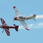 Granley family aerobatics. Father in red, son in white. BBAS 2018 (Photo by Colin MacGregor Stevens)
