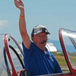 Granley family aerobatics. Bud Granley, aged 81, after performing aerobatics. BBAS 2018 (Photo by Colin MacGregor Stevens)