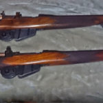 """Two very unusual Long Branch rifles. The top one is serial number J-5550-16 and has a mid-war 2-position """"L"""" backsight. The lower rifle has no serial number and is very similar but had a target back sight fitted."""