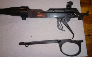 Second rifle which has no serial number. Left side with wood furniture removed.