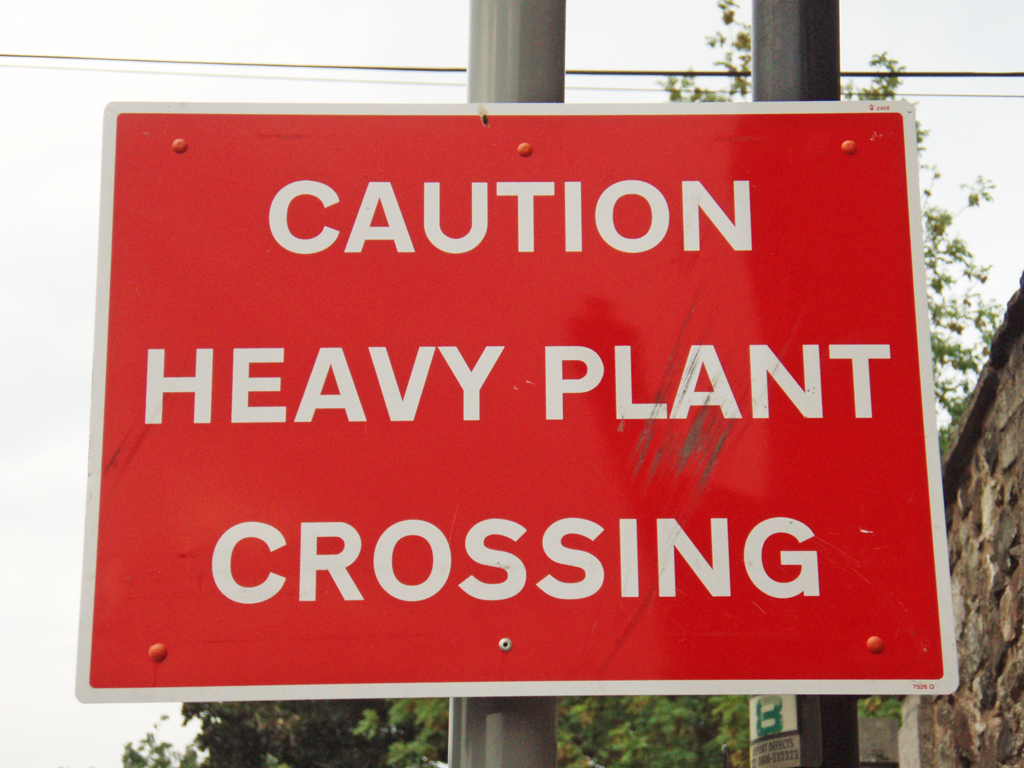 CAUTION HEAVY PLANT CROSSING Edinburgh Scotland 2008