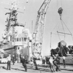 Ferret being unloaded from HMCS Bonaventure at Famagusta, Cyprus UNFICYP March 30, 1964