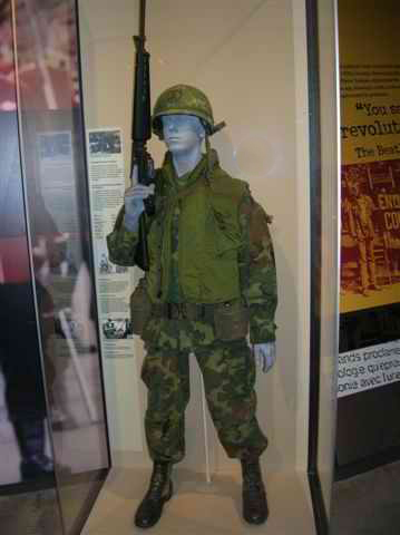 Mannequin of a US Marine in Vietnam War with rifle.